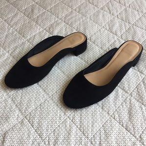 Topshop Black Faux Suede Georgia Mule Shoes